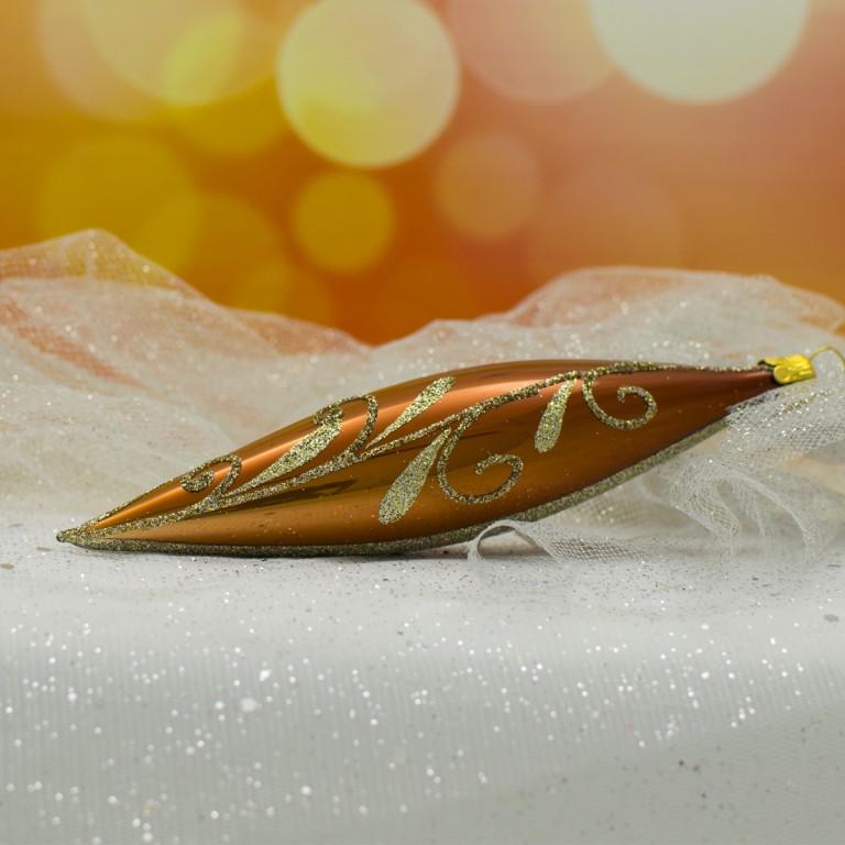 Slezská tvorba Skleněná raketa | skořicově hnědý porcelán | zlatý dekor