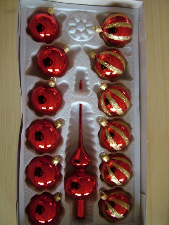 Slezská tvorba Skleněná sada | červená | zlatý dekor