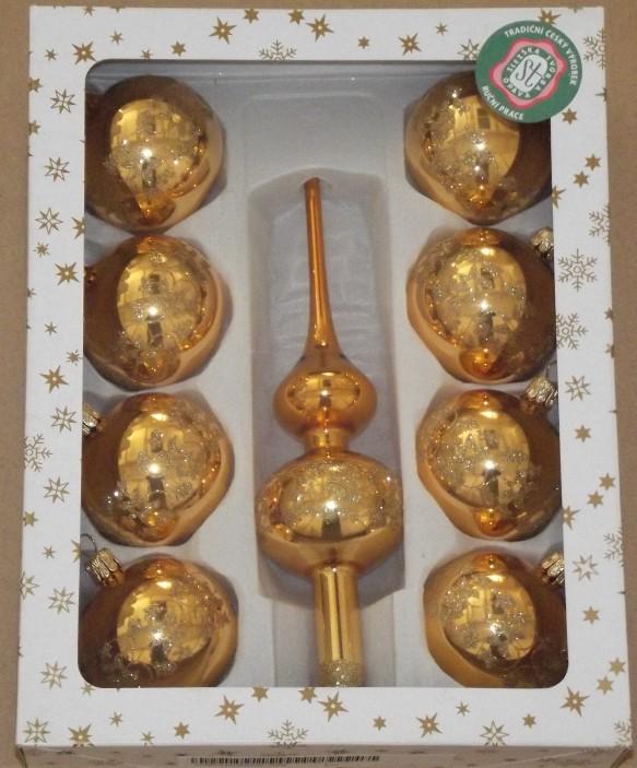 Slezská tvorba Skleněná sada | zlatý lak | dekor