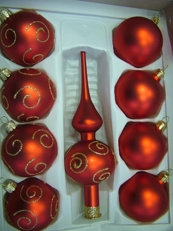 Slezská tvorba Skleněná sada | červený mat | zlaté spirály