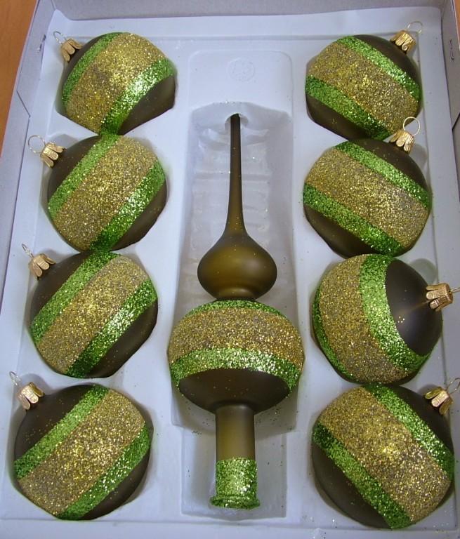Slezská tvorba Skleněná sada | zelený mat | zeleno-zlatý dekor
