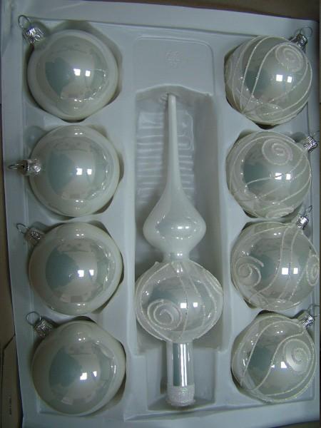 Slezská tvorba Skleněná sada | bílý porcelán | dekor