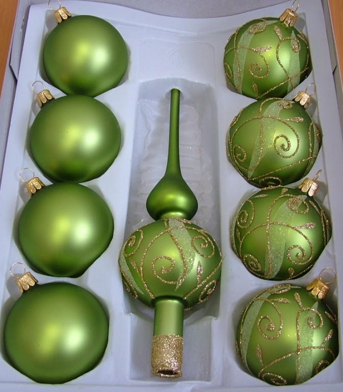Slezská tvorba Skleněná sada | zelený mat | zlaté spirály