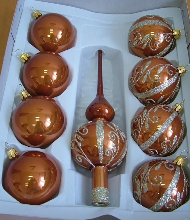 Slezská tvorba Skleněná sada | skořicově hnědý porcelán | dekor