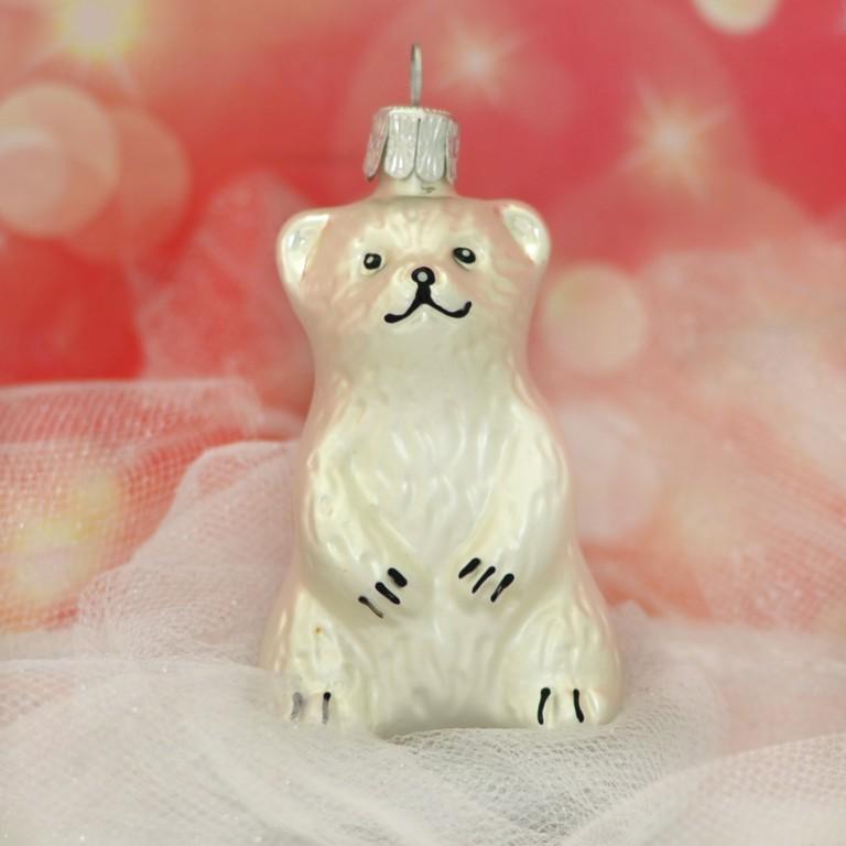 Slezská tvorba Skleněná figurka | sedící medvěd | bílý mat Balení obsahuje: 3 kusů