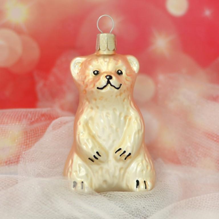 Slezská tvorba Skleněná figurka | sedící medvěd | zlatý mat Balení obsahuje: 3 kusů