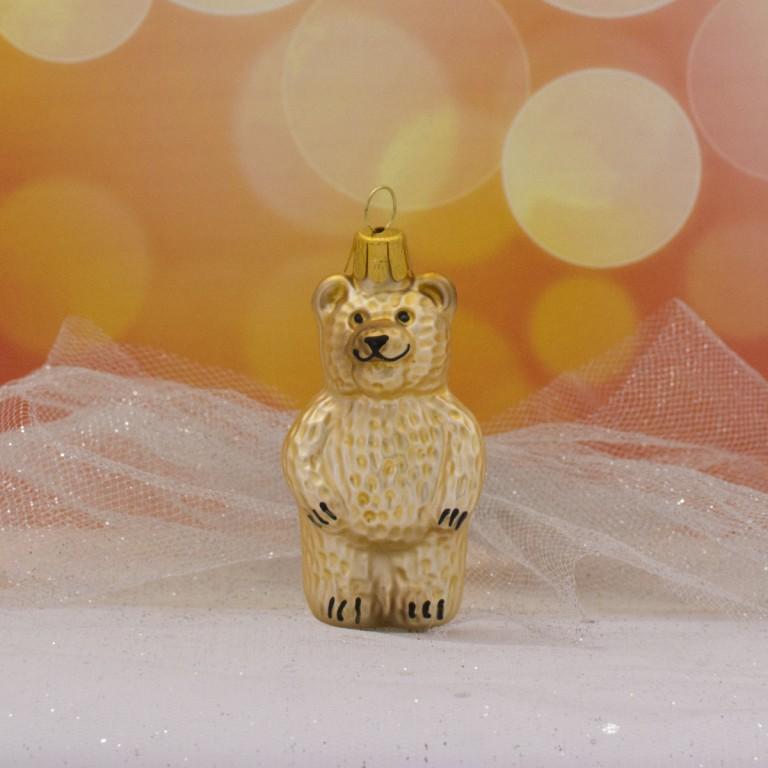 Slezská tvorba Skleněná figurka | stojící medvěd | zlatohnědý Balení obsahuje: 3 kusů