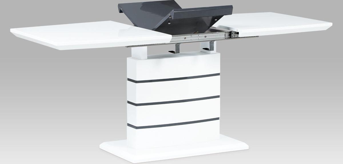 Artium Jídelní stůl 140+40x80 cm   vysoký lesk bílá + šedá