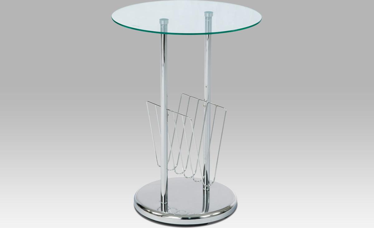 Artium Odkládací stolek skleněný | chromová konstrukce | novinový stojan