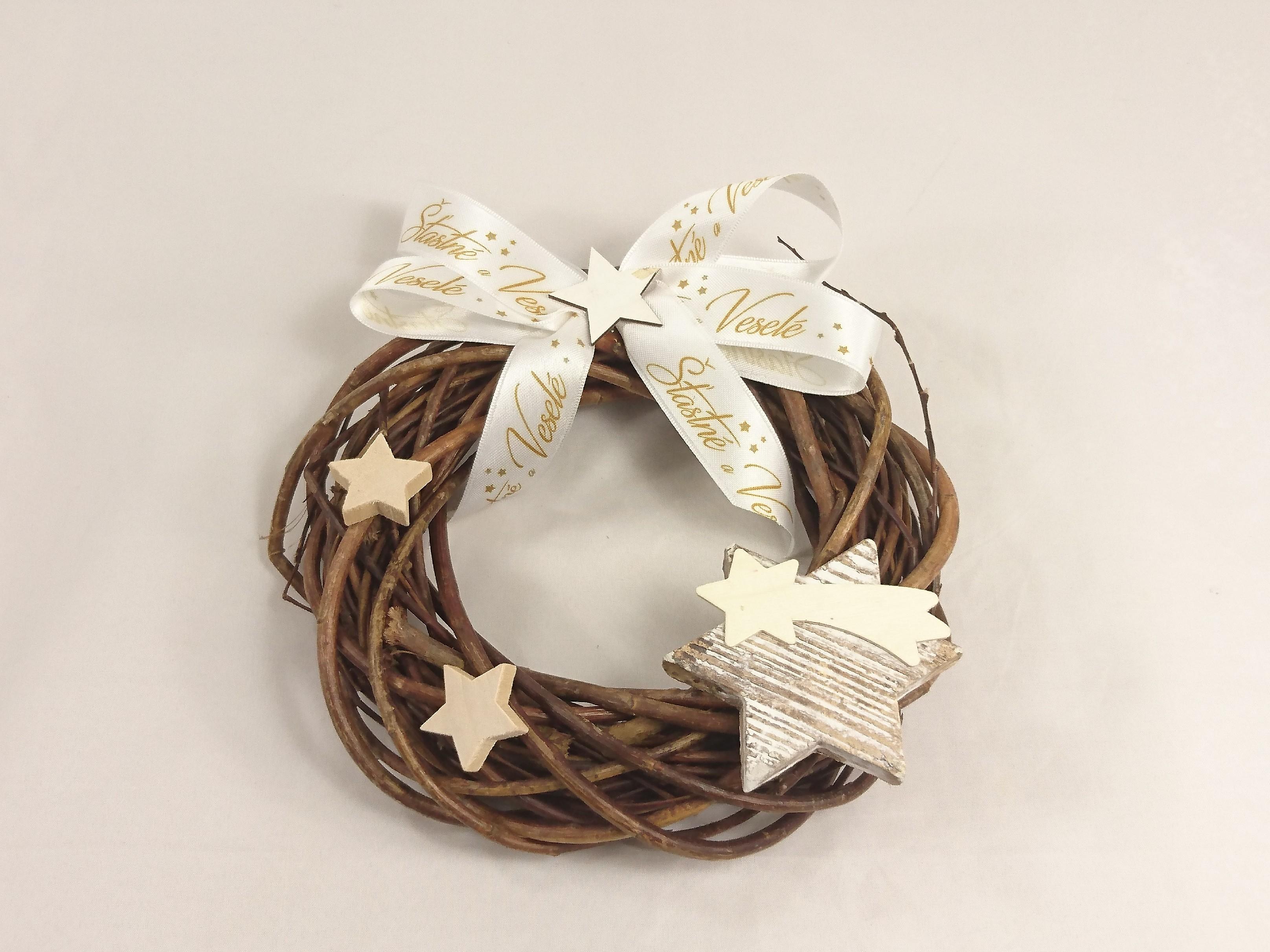 VESELÁ ŽENA Vánoční věnec | dekorační | hvězdičky|20cm