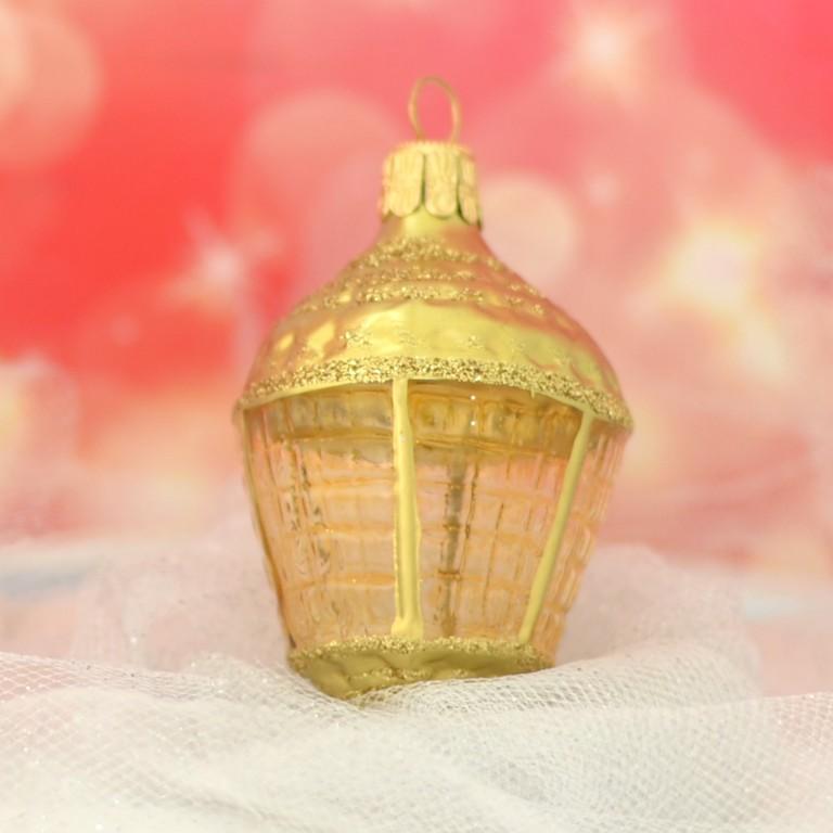 Slezská tvorba Skleněná figurka | lucerna ovál | zlatý mat Velikosti: 1 ks