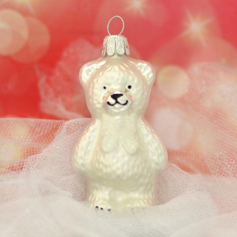 Slezská tvorba Skleněná figurka   medvěd s mašlí   bílý mat Balení obsahuje: 3 kusů
