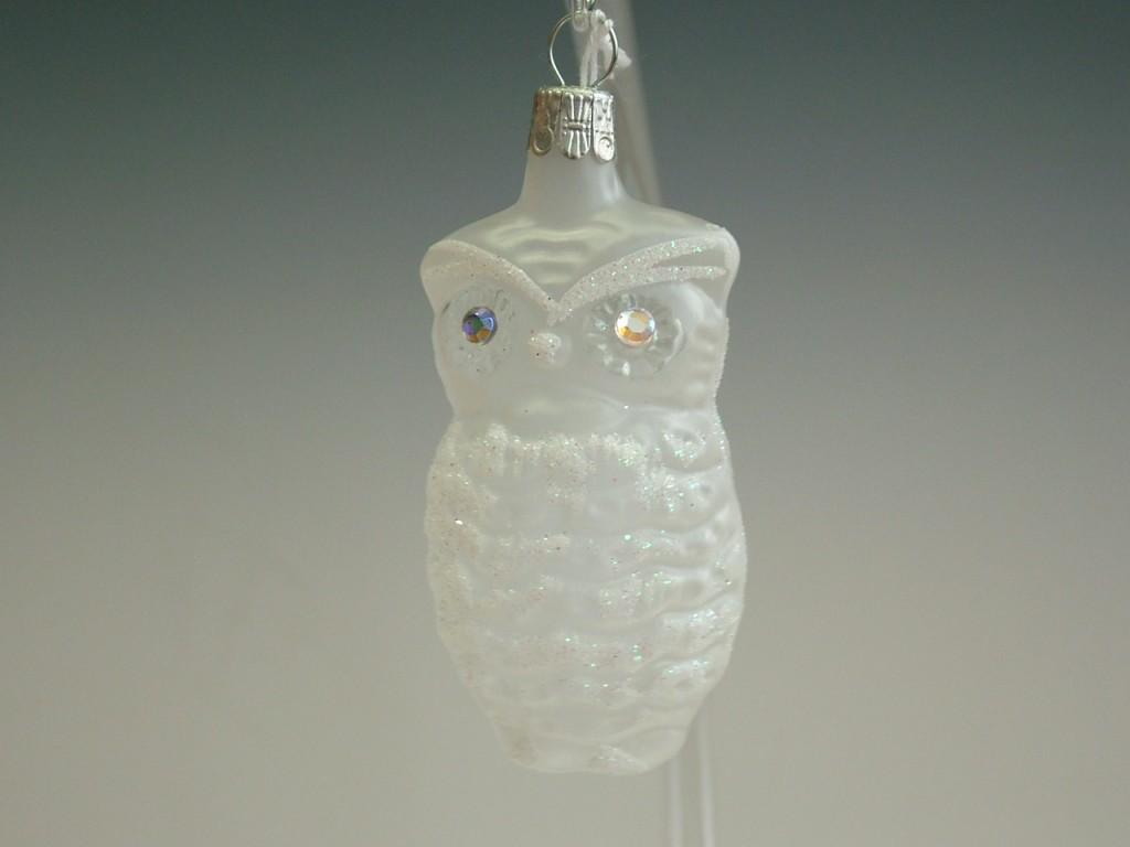 Slezská tvorba Skleněná figurka   sova   bílý mat   šatony Velikosti: 1 ks