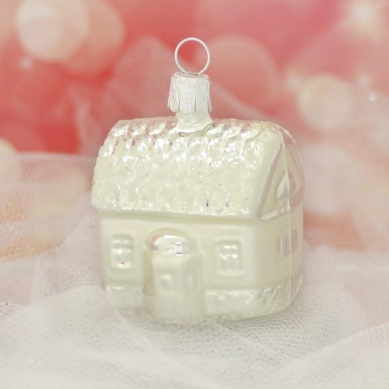 Slezská tvorba Skleněná figurka   domeček   bílý mat Balení obsahuje: 1 kusů