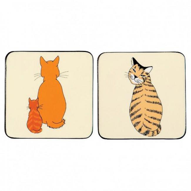 Korkové prostírání Cats In Waiting Rozměry: 10x10cm - 4ks