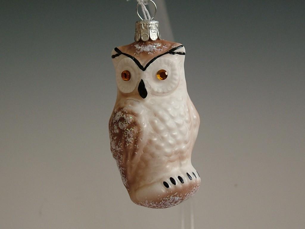 Slezská tvorba Skleněná figurka | sova | bílý a hnědý mat | dekor Velikosti: 3 ks