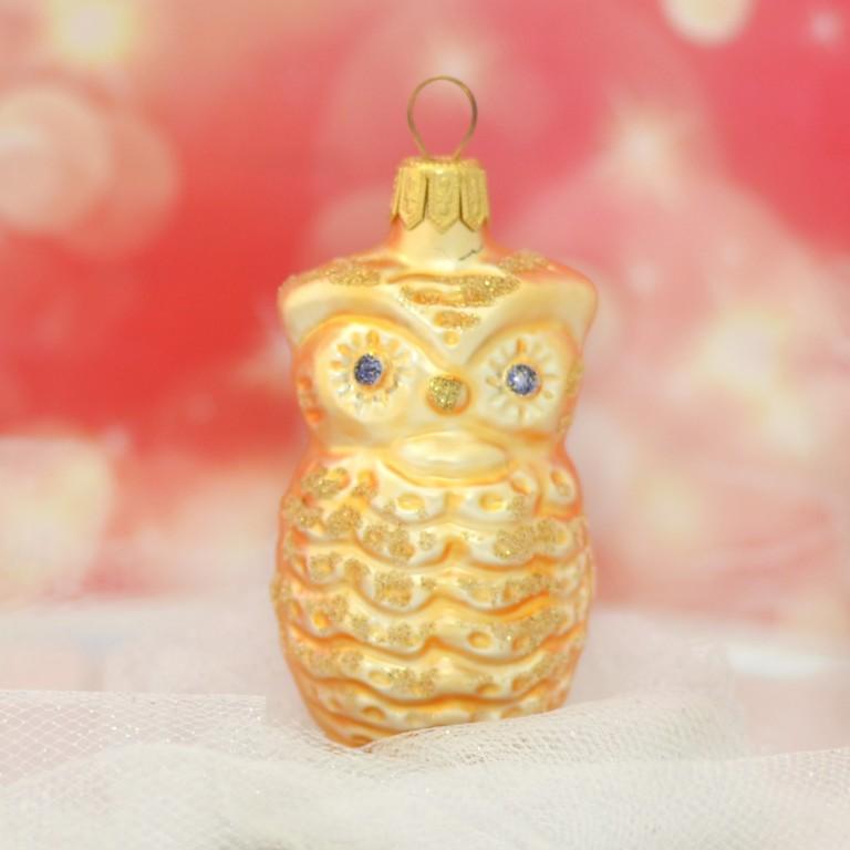 Slezská tvorba Skleněná figurka | sova | zlatý mat | dekor Velikosti: 1 ks
