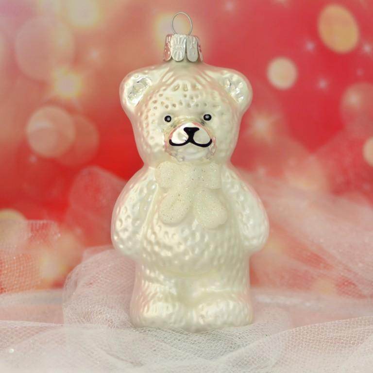 Slezská tvorba Skleněná figurka | medvěd s bílou mašlí | bílý mat Balení obsahuje: 3 kusů