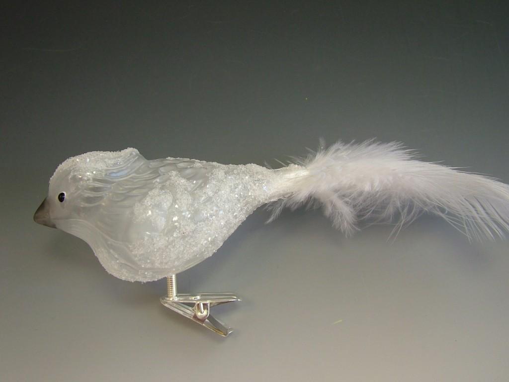 Slezská tvorba Skleněná figurka   ptáček s chocholkou   bílý Balení obsahuje: 3 kusů