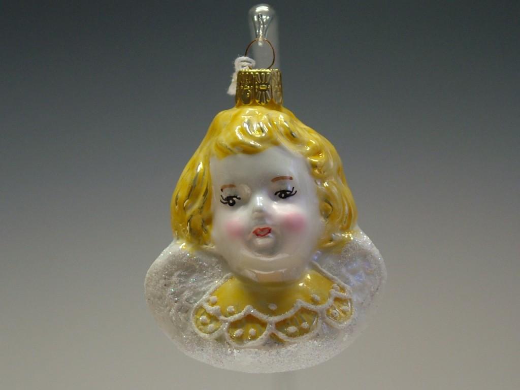 Slezská tvorba Skleněná figurka | hlava andílka | barevný porcelán Balení obsahuje: 3 kusů
