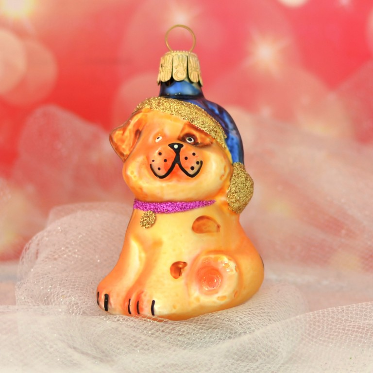 Slezská tvorba Skleněná figurka | pes s čepicí | zlatý Balení obsahuje: 1 kusů