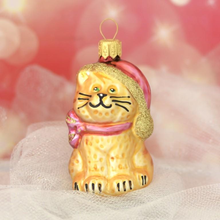 Slezská tvorba Skleněná figurka | kočka s čepicí | zlatý mat Balení obsahuje: 1 kusů