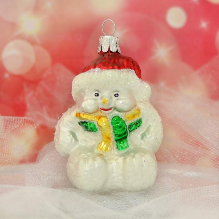 Slezská tvorba Skleněná figurka | sněhulák sedící Balení obsahuje: 1 kusů