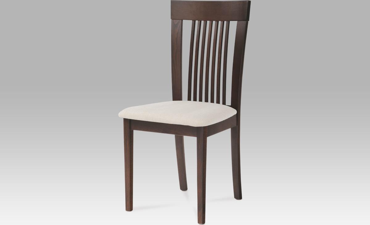 Jídelní židle | potah krémový Barva: ořech