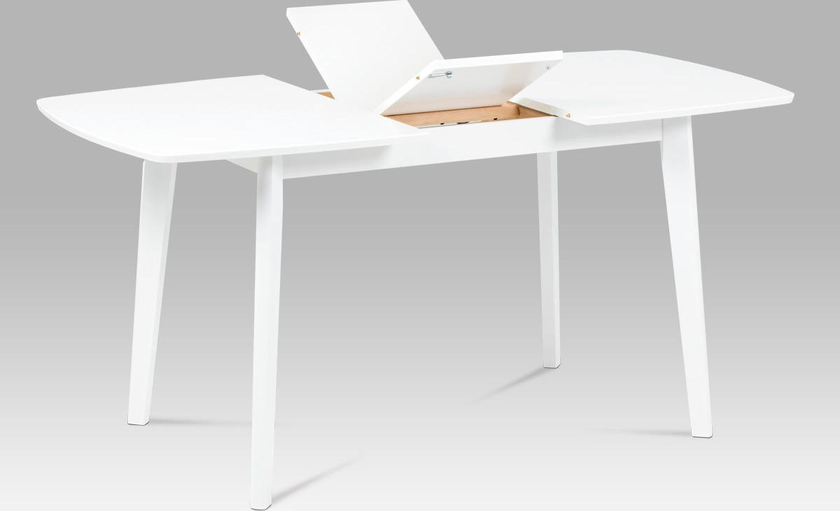 Rozkládací jídelní stůl | dřevěný | bílý