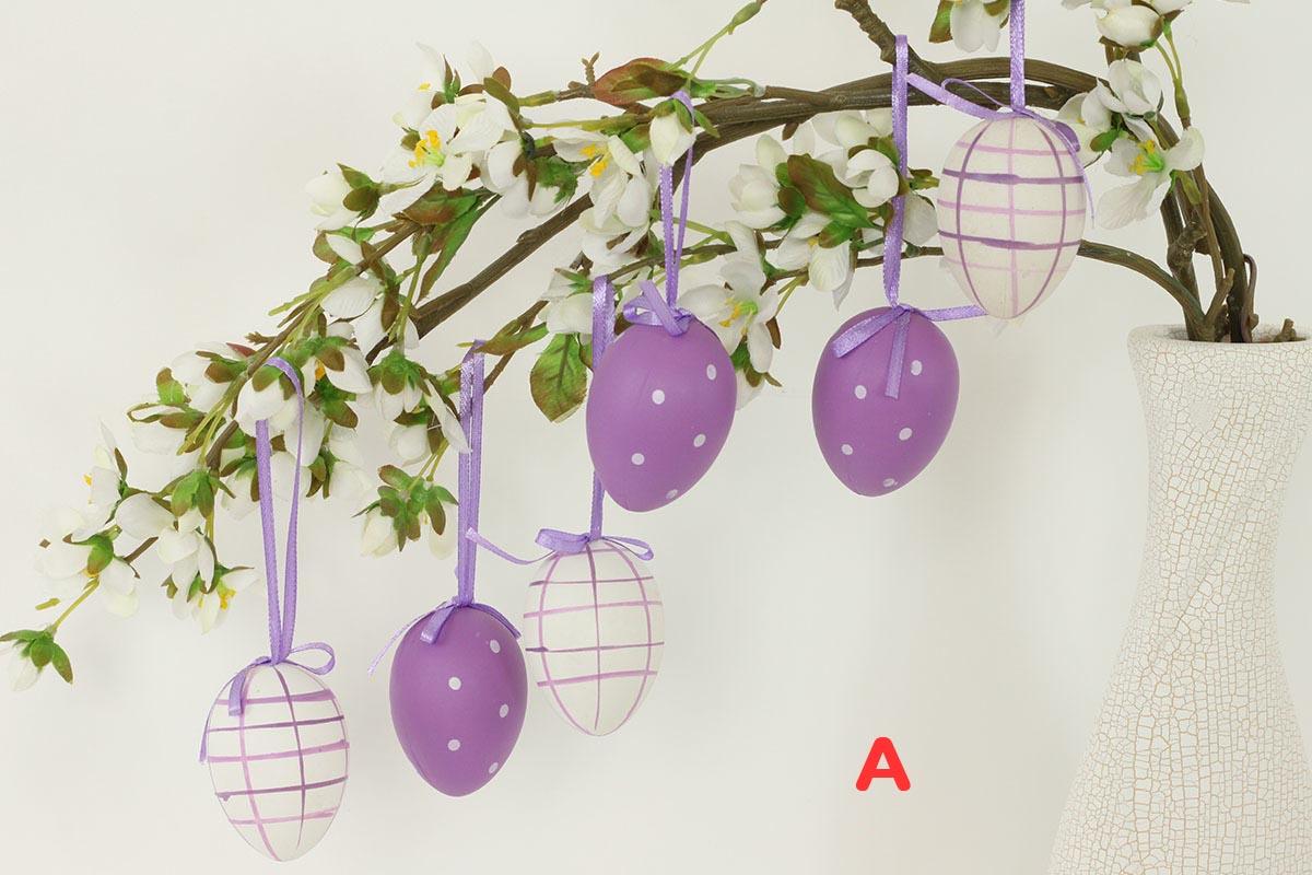 Artium Vajíčko plastové 6 cm | dekorační na zavěšení | sada 6 ks Provedení: A