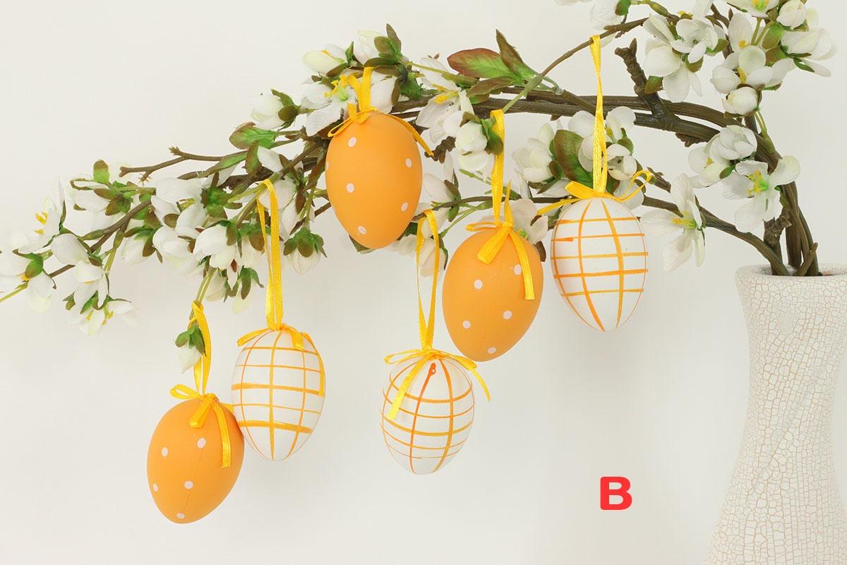 Artium Vajíčko plastové 6 cm | dekorační na zavěšení | sada 6 ks Provedení: B