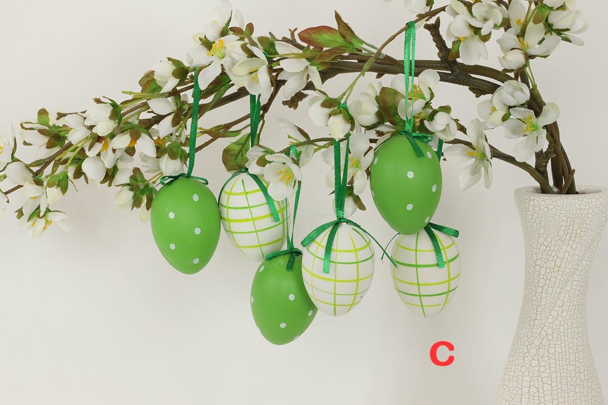 Artium Vajíčko plastové 6 cm | dekorační na zavěšení | sada 6 ks Provedení: C