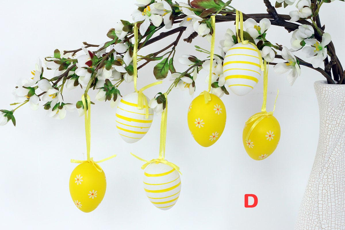 Artium Vajíčko plastové 6 cm | dekorační na zavěšení | sada 6 ks Provedení: D