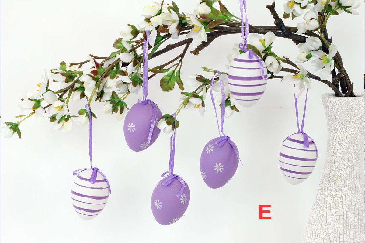 Artium Vajíčko plastové 6 cm | dekorační na zavěšení | sada 6 ks Provedení: E