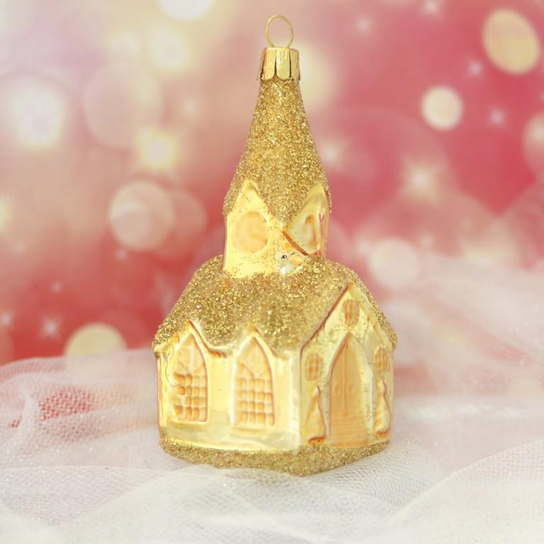 Slezská tvorba Skleněná figurka | kostel s věžičkou - zlatý Balení obsahuje: 1 kus