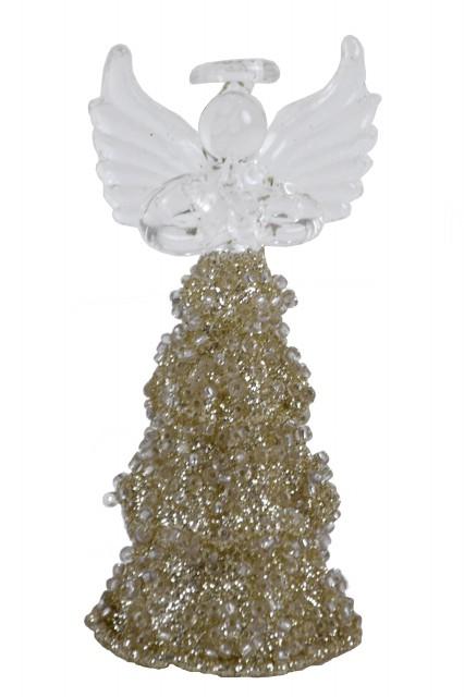 Anděl|skleněný|zlatý|4x9cm