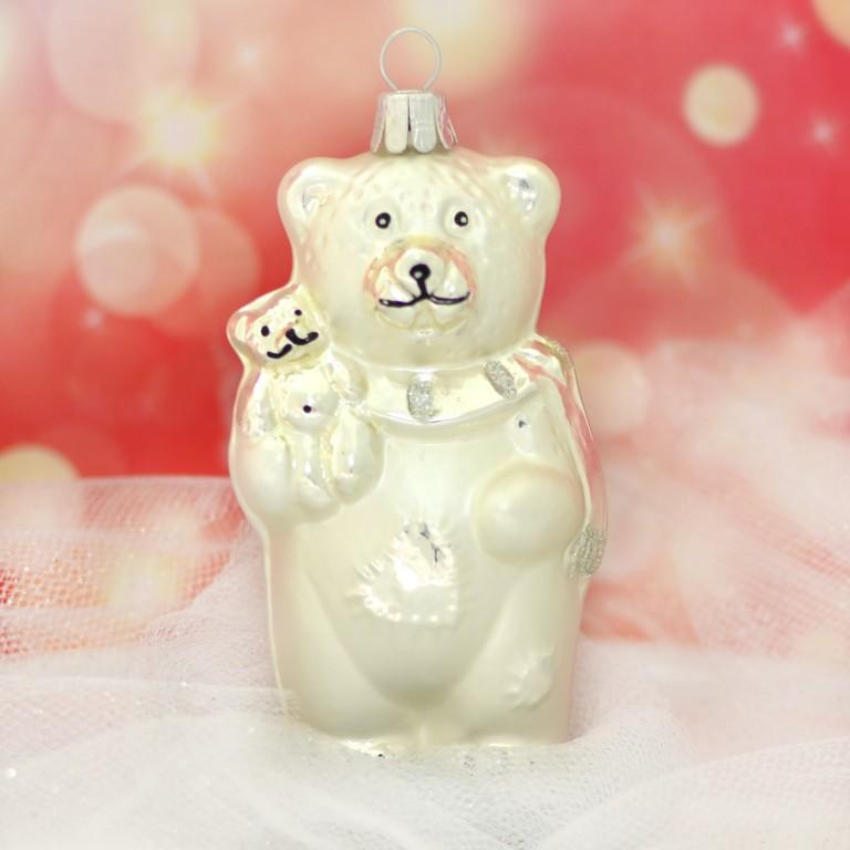 Slezská tvorba Skleněná figurka | medvěd s malým medvídkem | bílý mat Balení obsahuje: 1 kusů