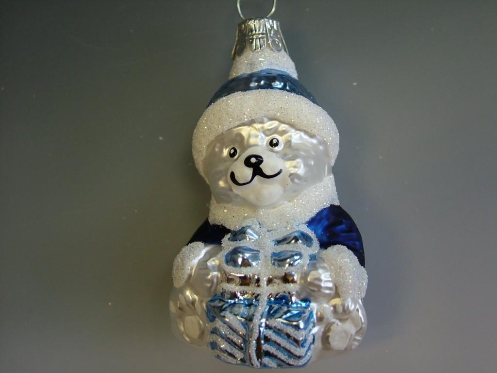 Slezská tvorba Skleněná figurka | medvěd s dárkem Balení obsahuje: 3 kusů