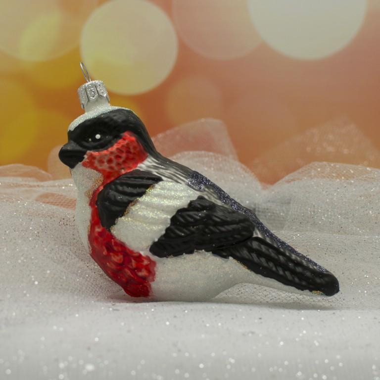 Slezská tvorba Skleněná figurka | ptáček | šedočervený