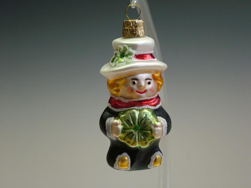 Slezská tvorba Skleněná figurka | kominík s bílým kloboukem a čtyřlístkem Balení obsahuje: 6 kusů