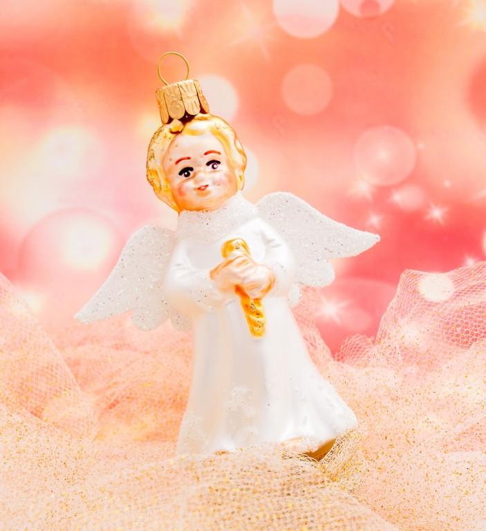 Slezská tvorba Skleněná figurka   anděl s flétnou a křídly   bílý Balení obsahuje: 6 kusů