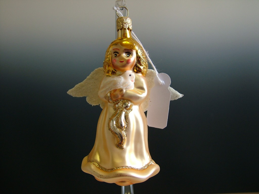 Slezská tvorba Skleněná figurka | anděl s holoubkem | zlatý Balení obsahuje: 6 kusů