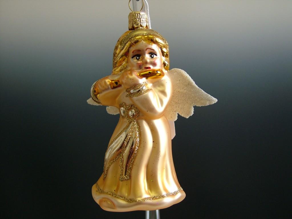 Slezská tvorba Skleněná figurka | anděl s flétnou | zlatý Balení obsahuje: 6 kusů