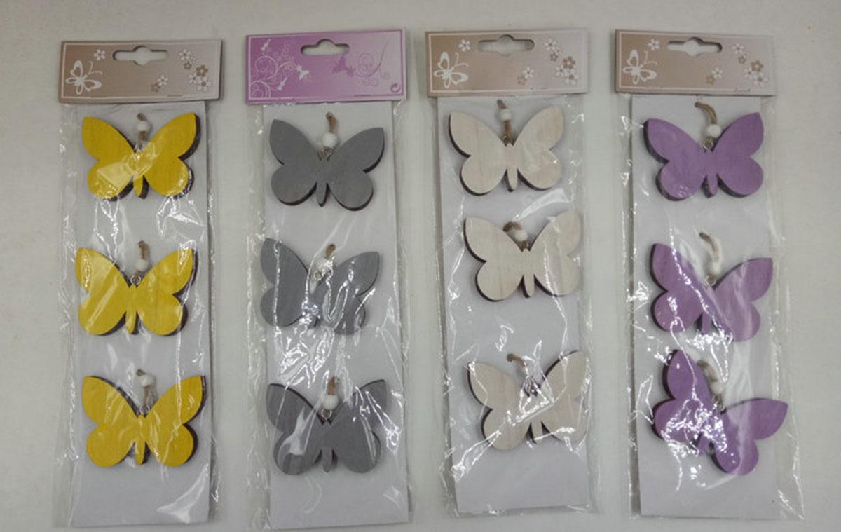 Motýlek dekorační | na zavěšení | sada 3ks Barva: bílá