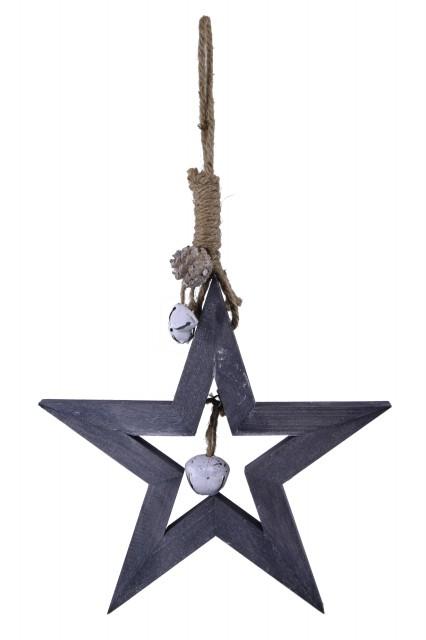 Hvězda|s rolničkou|k zavěšení Velikost: větší - 45x4cm