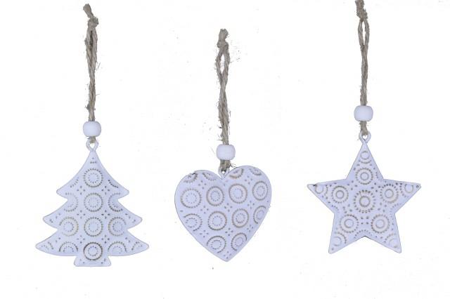 Vánoční ozdoba bílá|se zlatým ornamentem S motivem: stromek