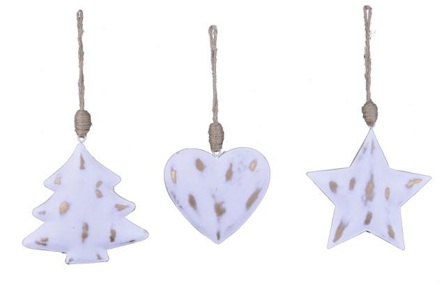 Vánoční ozdoba|bílo zlatá S motivem: stromek