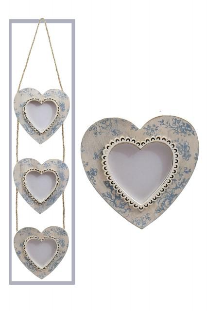 Fotorám na 3 fotky | srdce | bílo-modré