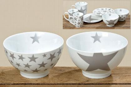 Porcelánová miska šedá hvězda 500ml S motivem: hvězda