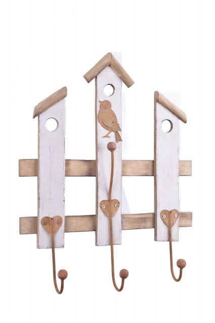 Nástěnný věšák   dřevěný   s ptáčkem